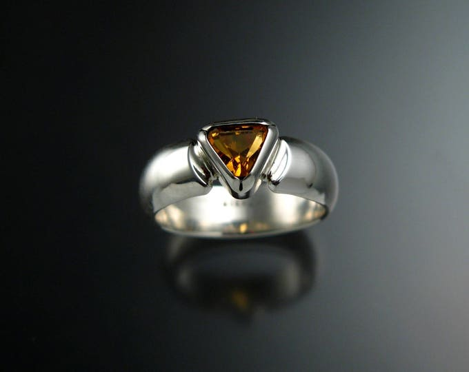 Citrine ring Set in Sterling Silver triangle shaped November birthstone size 7