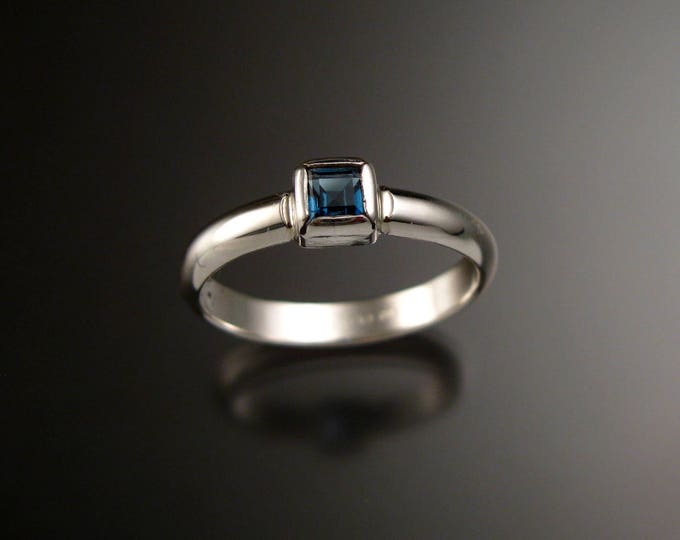 London blue Topaz square stone stackable ring Sterling Silver handmade to order in your size