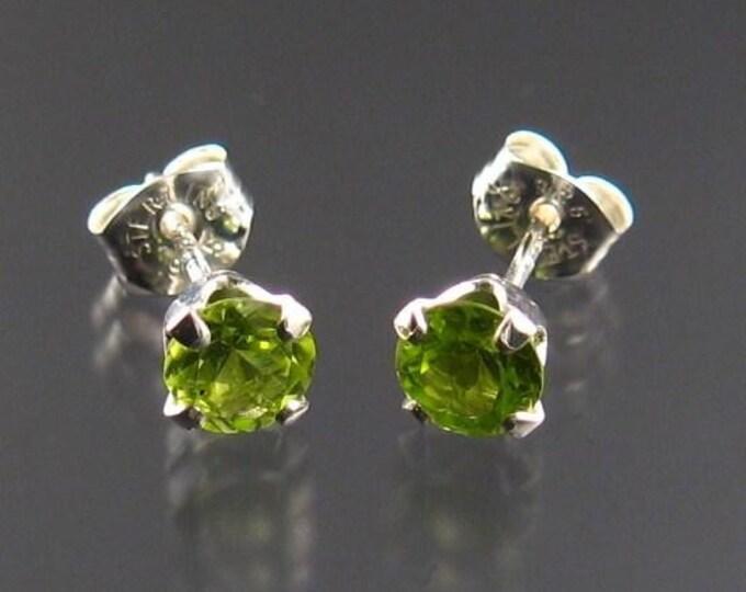 Peridot round post earrings, Sterling