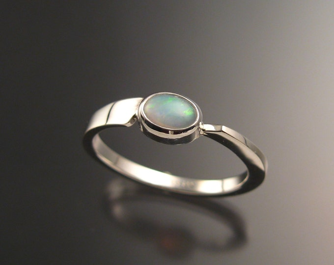 Opal Ring Sterling Silver Asymmetrical stackable ring Hand crafted in your size