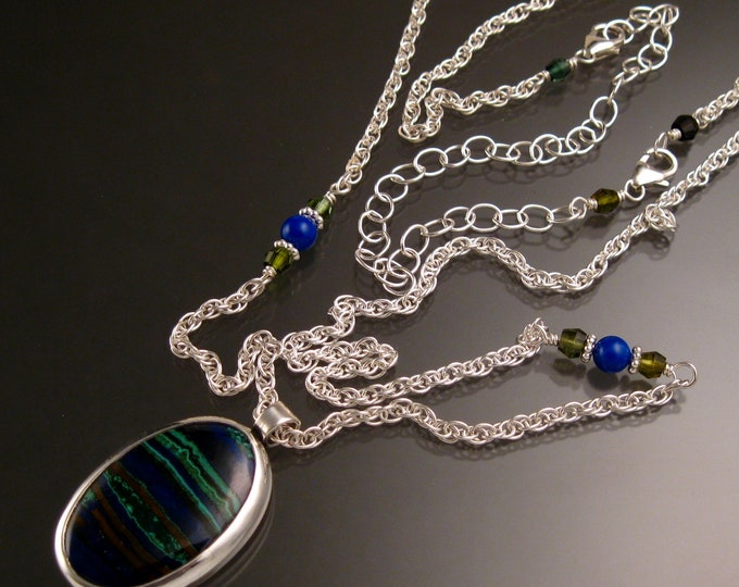 Azurite and Malachite bezel set adjustable length Necklace Handmade in Sterling silver
