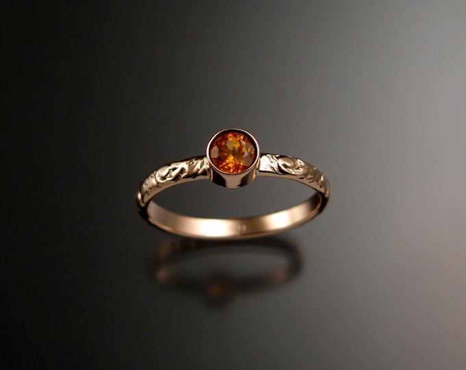 Orange Garnet ring 14k Rose Gold  bezel set Victorian floral pattern ring made to order in your size