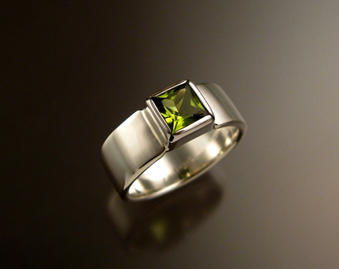 Peridot ring Sterling Silver Square stone wide band Ring made to order in your size