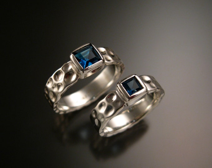 London blue Topaz square Moonscape two ring His and Hers Sapphire substitute Wedding rings 14k white gold made to order in your size