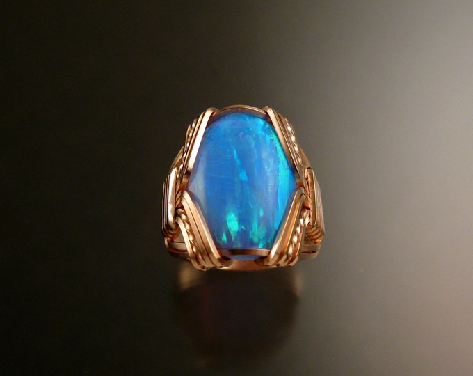 Powder Blue Lab created Opal ring 14k Rose Gold-filled Made to order in your size