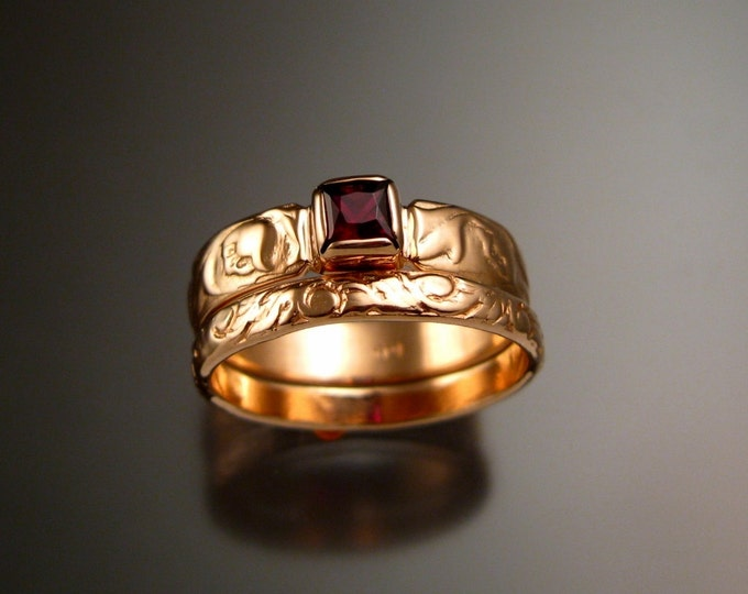 Garnet and Rose Gold flower and vine pattern deep red Natural Garnet Victorian 14k pink gold Ruby substitute wedding ring set made to order