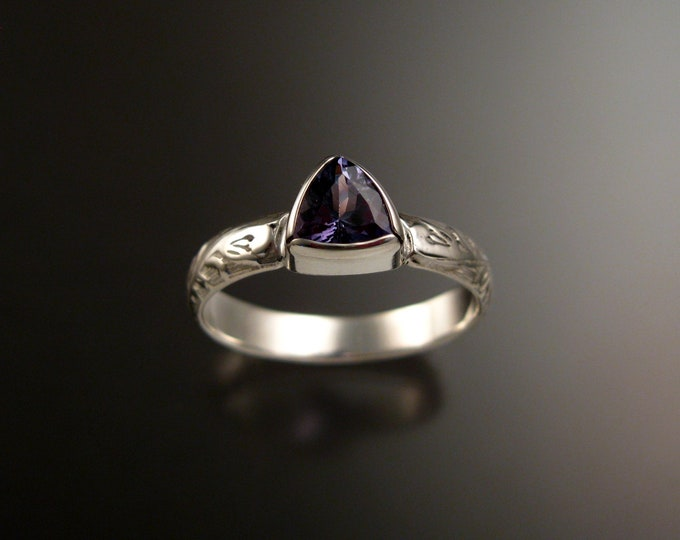 Tanzanite Triangle ring 14k White Gold Victorian bezel set stone ring made to order in your size