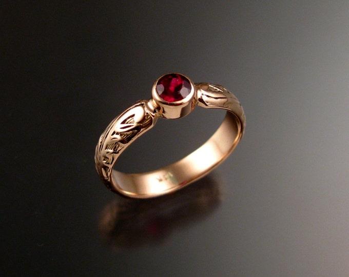 Garnet Wedding ring 14k rose Gold Victorian bezel set ring made to order in your size