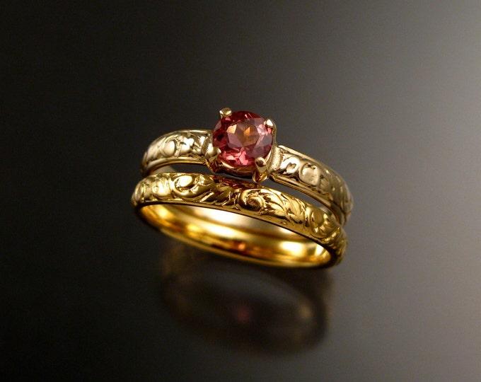 Pink Tourmaline wedding ring set 14k Yellow Gold Victorian floral pattern engagement rings