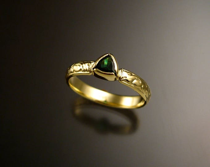 Tsavorite Garnet triangle 14k Green Gold Victorian floral pattern wedding ring Emerald substitute engagement ring Made to order in your size