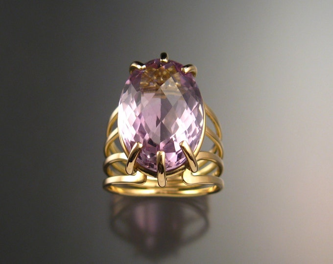 Amethyst ring 14k Gold Natural Amethyst Large stone Ring size 9