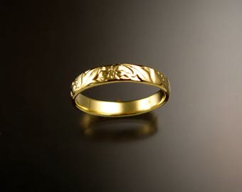 14k Green Gold 14k 3.6mm Vine and Flower pattern Band wedding ring made to order in your size Victorian wedding band