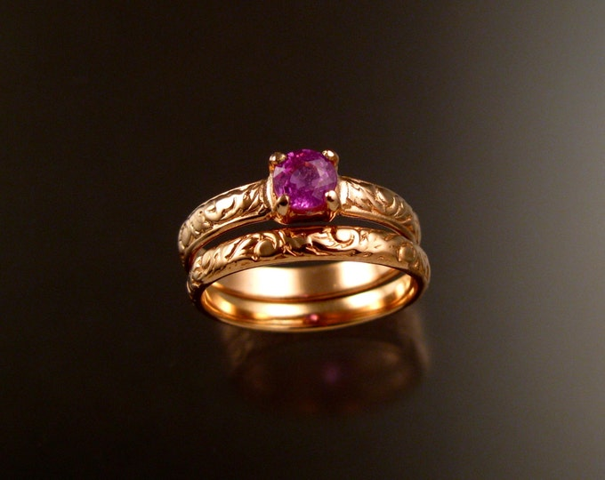 Pink Sapphire 14k rose gold Natural stone pink diamond substitute Victorian Wedding set made to order in your size