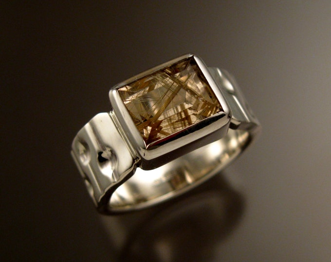 Rutilated Quartz Sterling Silver Bars and craters band large rectangular stone ring size 9 1/2