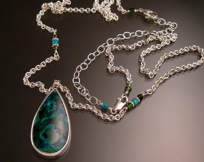 Chrysocolla and Malachite pear shaped bezel set adjustable length Necklace Handmade in Sterling silver