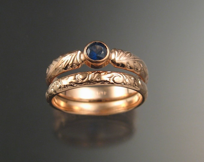 Sapphire Natural cornflower blue Wedding set 14k rose gold Victorian bezel set two rings made to order in your size
