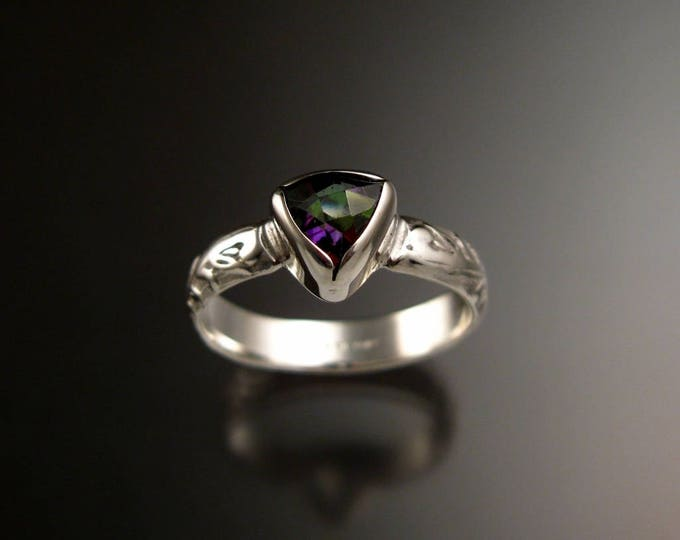 Mystic Topaz ring Sterling Silver Triangle Stone with bezel setting Victorian Floral pattern ring made to order in your size