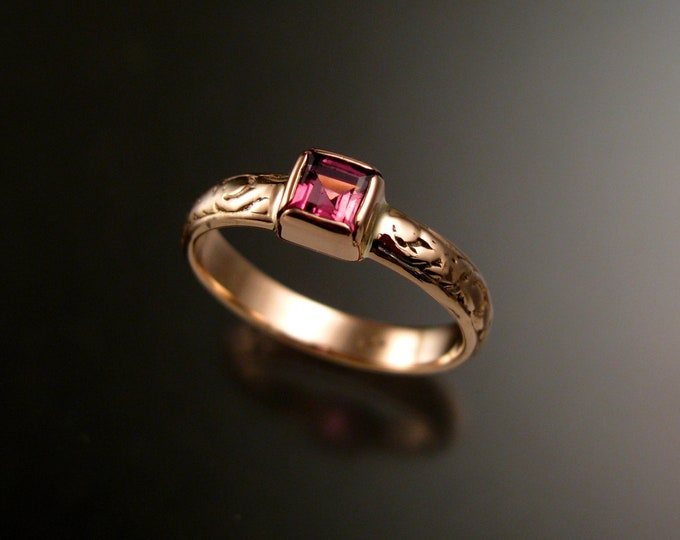 Pink Tourmaline Princess cut stone Wedding ring 14k Rose Gold Victorian bezel set Pink Diamond substitute ring made to order in your size