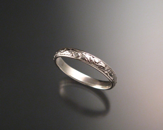 14k white Gold 3.25 mm Floral pattern Band wedding ring size 8 for Jessica ONLY