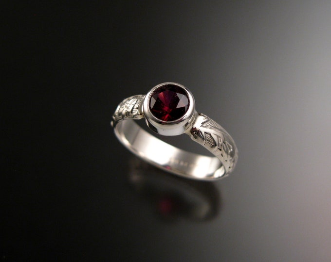 Garnet Raspberry red 6mm round Sterling Silver Bezel set stone ring with Victorian floral pattern band size 6 1/2