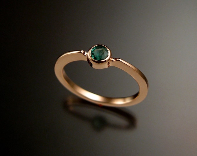 Emerald stackable ring 14k Rose Gold bezel set natural stone ring made to order in your size