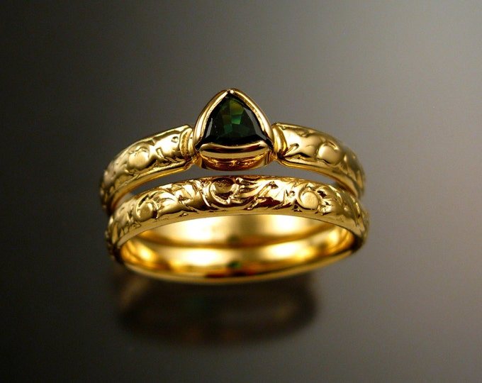Tsavorite Garnet triangle Wedding set 14k Yellow Gold Victorian Emerald substitute two ring set made to order in your size