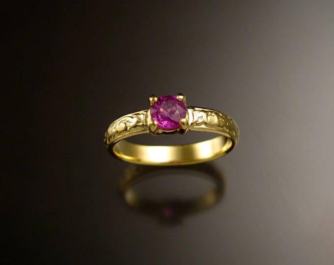 Pink Sapphire 14k Green Gold Victorian floral pattern wedding ring Pink Diamond substitute engagemen ring Made to order in your size