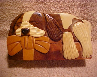Handcrafted Lop-Earred Puppy Dog Wooden Secret Puzzle Trinket Box