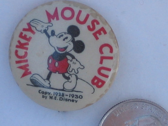Vintage Mickey Mouse Club 1930's Pin back button
