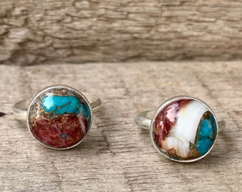 12mm Round Solitaire Cool Tones Dahlia Copper Turquoise Sterling Silver Ring | Turquoise Solitaire Ring | December Birthstone Ring