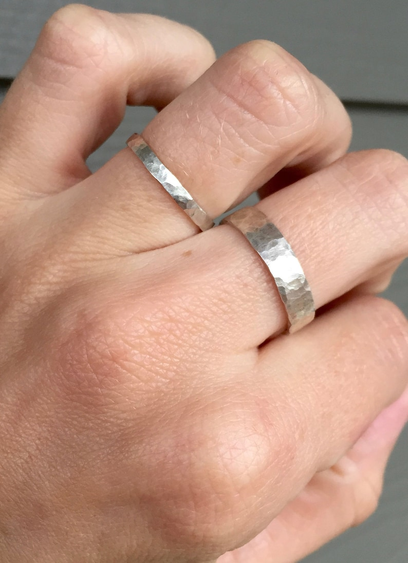 Unisex Minimalist Sterling Silver Hammered Ring Band  Silver image 1