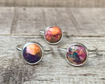 10mm Round Purple Dahlia Copper Turquoise Sterling Silver Ring | Turquoise Solitaire Ring