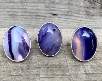 Large Oval Purple Blue Psychedelic Agate Sterling Silver Ring | One of a Kind Jewelry | Purple Agate Ring