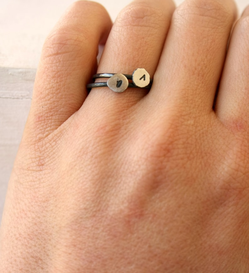 Letter ring initial stacking ring lowercase letter ring sterling silver monogram ring recycled fine silver ring oxidized silver ring