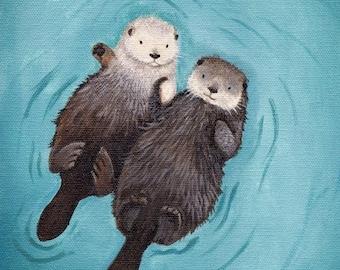 Otters Holding Hands Art Print 11x14 - Cute Otter Art, perfect wedding & anniversary gift, gender neutral