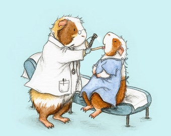A trip to the Doctor 8x10 - Guinea Pig Art Print - Gift for doctors, nurses, essential workers, veterinarians