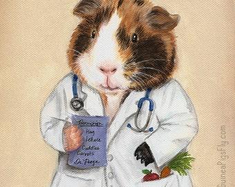 Guinea Pig Doctor Art Print 8x10 - Perfect gift for doctors, nurses, essential workers, veterinarians