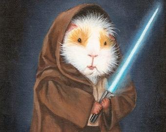 Guinea Pig Jedi 8x10 - Cute Guinea Pig Star Wars Fan Art Print