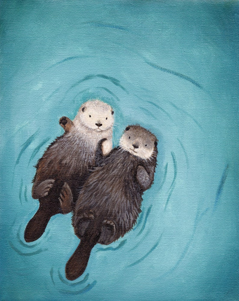 Otters Holding Hands Art Print Otterly Romantic Perfect Etsy