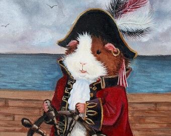 Broccoli Jones 8x10 - Guinea Pig Pirate Art Print - Cute Kids Wall Art, Nursery Decor