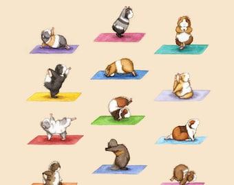 The Yoga Guinea Pigs Art Print - Yoguineas Namast-Hay Poster cute yoga art