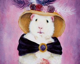 Beatrice Buttercream 8x10 - Victorian Guinea Pig Portrait Art Print