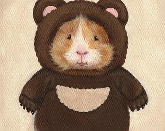 Guinea Pig in a Bear Costume 8x10 - Cute Guinea Pig Art Print