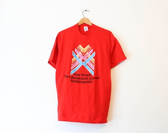 ca2225fe9 Vintage Red 10th Tenth Pan American Games Indianapolis Indiana 1987 T Shirt