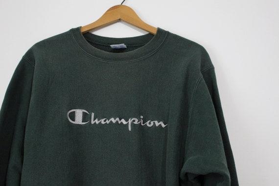 Vintage Green Champion Script Reverse Weave Sweat… - image 2