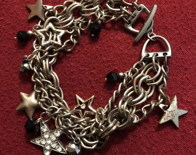 Sparkly cosmic star-studded charm bracelet--reconstructed vintage, Gypsy Palace original