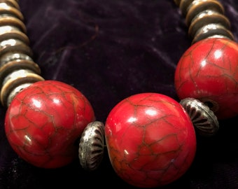 Chunky vintage Tibetan tribal style necklace with faux coral and bone beads