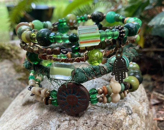 Rustic, tribal gypsy style beaded Bangle Stack in shades of green