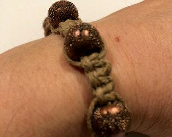 Natural hemp Shambhala-style bracelet with handmade and bone beads