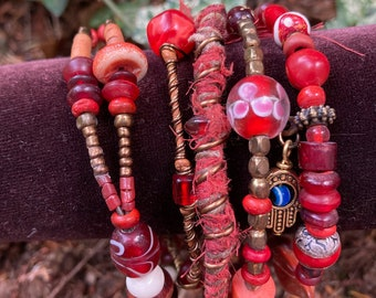Rustic, tribal gypsy style beaded Bangle Stack in shades of red